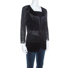 Escada Black Crochet Fringe Detail Cardigan L