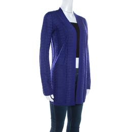 M Missoni Royal Blue Chevron Paneled Wool Knit Cardigan M 220384