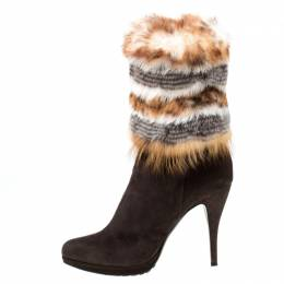 Loriblu Brown Suede And Fur Pointed Toe Ankle Boots Size 38.5