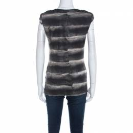 Roberto Cavalli Class Black Fur Printed Cotton Cap Sleeve Top M 220726