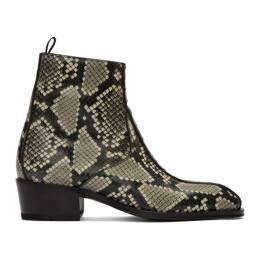 Giuseppe Zanotti Design Black and Grey Snake Zip-Up Boots 192266M22800107GB