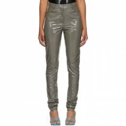 Tibi Grey Patent Skinny Trousers 192095F08700804GB