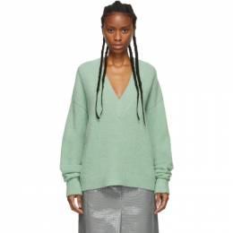 Tibi Green Alpaca Airy V-Neck Sweater 192095F10000301GB