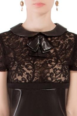 Короткое кожаное платье Saint Laurent 1531150075