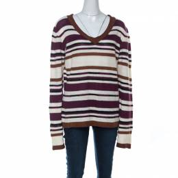 John Galliano Multicolor Striped Crochet knit Sweater L 221781