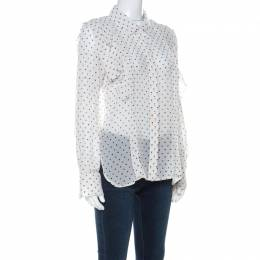 See By Chloe Off White Polka Dot Georgette Ruffled Blouse M 221201