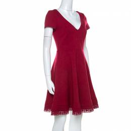 Red Valentino Red Jersey V-Neck Fit & Flare Dress M 221300