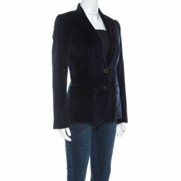 Dolce&Gabbana Navy Blue Velvet Notch Lapel Blazer S