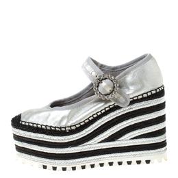 Marc Jacobs Metallic Silver Crystal Embellished Leather Suzi Mary Jane Espadrille Platforms Size 36 221988