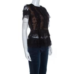 Elie Saab Black Lace Short Sleeve Peplum Top XS 220876