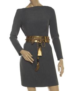 Gucci Gold Snake Skin Bamboo Tassel Waist Belt 80cm 221426