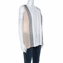 Bottega Veneta White Cotton Panelled Sleeveless Top S 221429