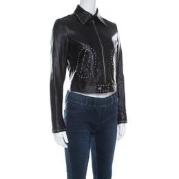 Saint Laurent Paris Black Leather Studded Biker Jacket S 221670