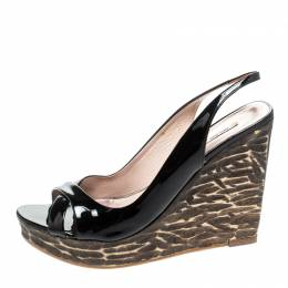 Miu Miu Black Criss Cross Patent Leather Sling Back Wooden Wedges Sandals Size 38