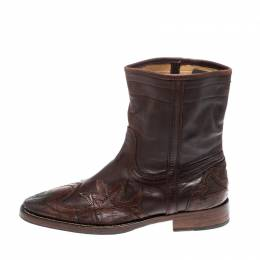 D&G Brown Leather Cowboy Runaway Boots Size 45 Dandg 221842