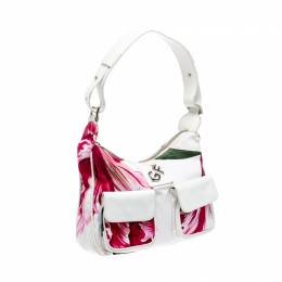 Gianfranco Ferre White/Pink Floral Print Canvas and Leather Pocket Shoulder Bag 221475