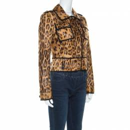 Roberto Cavalli Brown Leopard Pattern Goatskin Fur and Suede Jacket S 221652