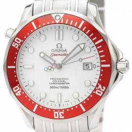 Omega White Stainless Steel Seamaster Olympic Collection Vancouver 2010 212.30.41.20.04.001 Men's Wristwatch 41MM 221000