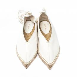 Celine White Leather Babouche Pointed Toe Espadrilles Size 37 221861