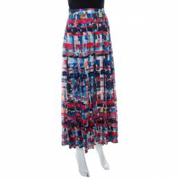 Chanel Multicolor Printed Cotton Pleated Maxi Skirt S 221251