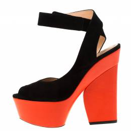 Celine Black/Orange Suede Peep Toe Velcro Strap Platform Sandals Size 37.5