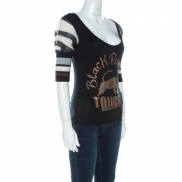 GF Ferre Black Panther Print Jersey Scoop Neck Top S Gianfranco Ferre 221648