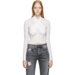 Unravel White Stocking Scarf Wrap Long Sleeve T-Shirt 192806F11001403GB