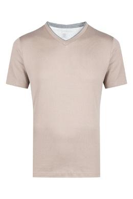 Светло-коричневая футболка с треугольным вырезом Eleventy 2014149792