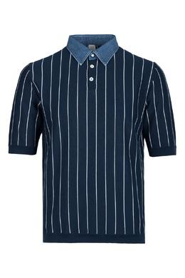 Синяя рубашка с джинсовым воротником Eleventy 2014149790