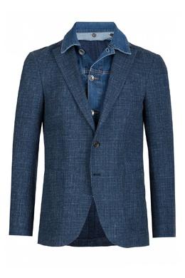 Синий пиджак с джинсовой вставкой Eleventy 2014149810