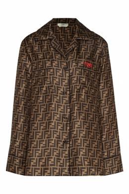 Коричневая блузка с монограммами Fendi 1632150379