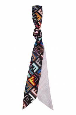Черный шарф с разноцветным принтом Fendi 1632150456