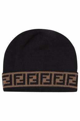 Черная шерстяная шапка с монограммами Fendi 1632150485