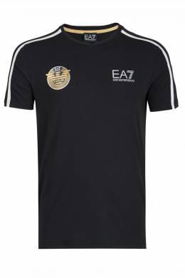 Черная футболка с белым декором Ea7 2944149698