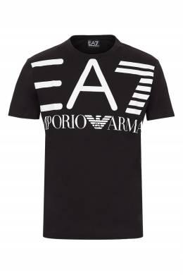 Черная футболка с белыми надписями Ea7 2944149708