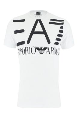 Белая футболка с черным логотипом Ea7 2944149706