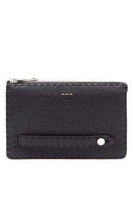 Черный кожаный клатч Fendi 1632150514