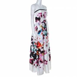 Elie Saab White Floral Printed Silk Satin Strapless Evening Gown S 222008