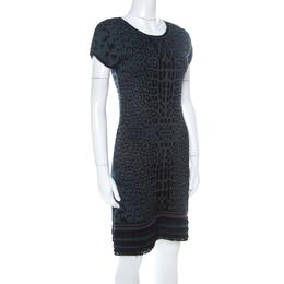 Roberto Cavalli Green & Black Leopard Knit Jacquard Ruffle Hem Dress M 222249