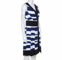 Proenza Schouler Blue White & Black Striped Sleeveless Paneled Dress S