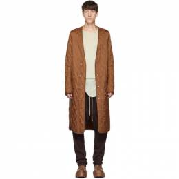 Rick Owens Brown Long Quilted Liner Coat 192232M17601103GB