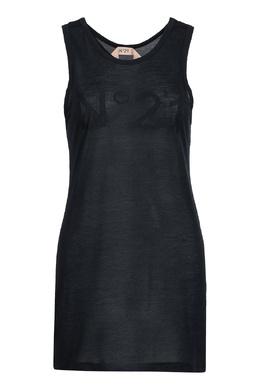 Длинная черная майка с логотипом No. 21 35143913
