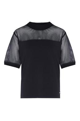 Черная блузка с полупрозрачной вставкой DKNY 1117149044