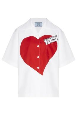 Белая блузка с принтом сердца Prada 40150479