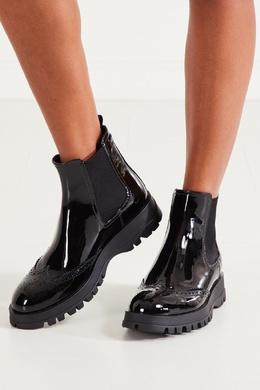Полированные ботинки из телячьей кожи Prada 40150304