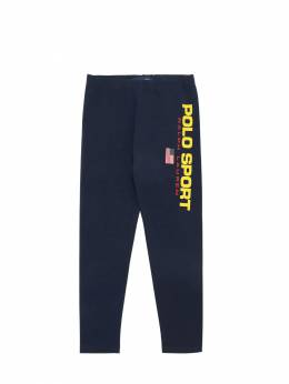 Logo Print Cotton Blend Leggings Ralph Lauren 70IXEU022-MDAx0