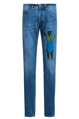 Синие джинсы с рисунком Eleventy 2014150204