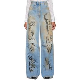 Off-White Blue Graffiti Tomboy Jeans 192607F06902103GB