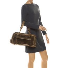 Cartier Gold Suede and Leather La Dona Shoulder Bag
