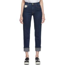 Stella McCartney Blue Logo Cuff The Skinny Boyfriend Jeans 192471F06900906GB